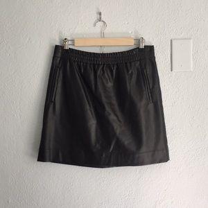 LOFT Faux Leather Black Skirt